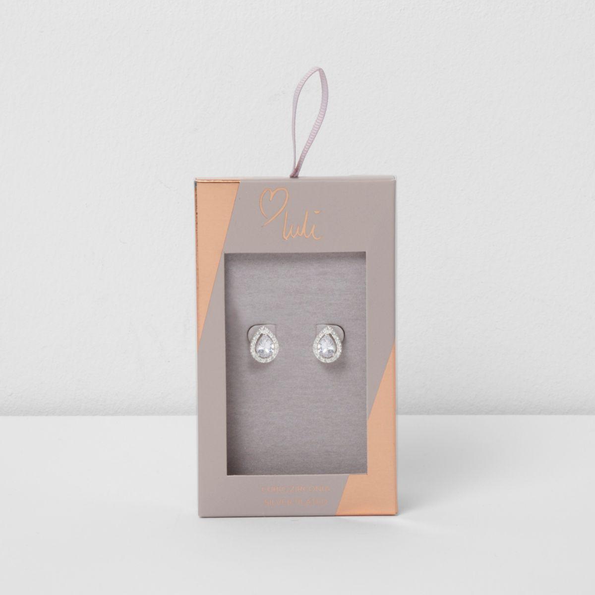 Silver plated Love Luli teardrop earrings