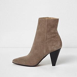 Dark beige suede pointed cone heel boots