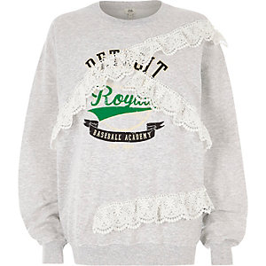 Grey 'detroit' print lace trims sweatshirt