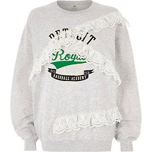 Grijs sweatshirt met 'Detroit'-print en kanten zoom