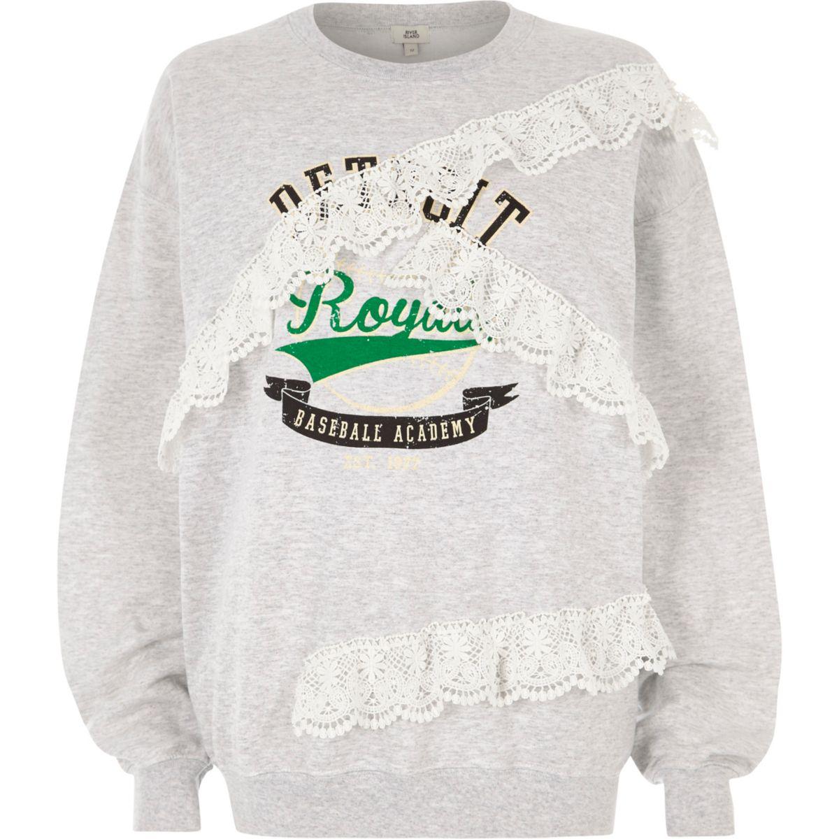Grey 'detroit' print lace trims sweatshirt