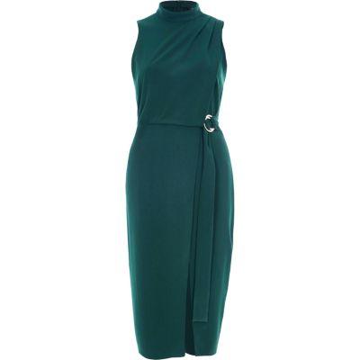 River Island Donkergroene hoogsluitende midi-jurk met overslag en D-ring