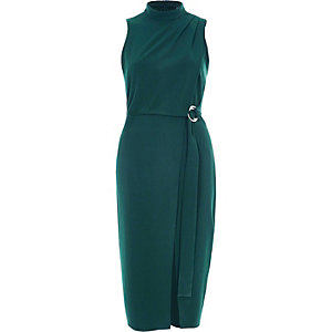 Dark green high neck wrap D-ring midi dress