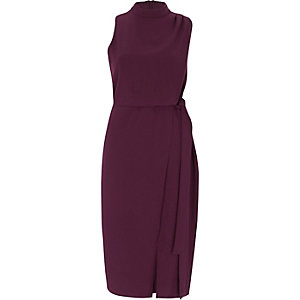 Dark purple high neck sleeveless wrap dress