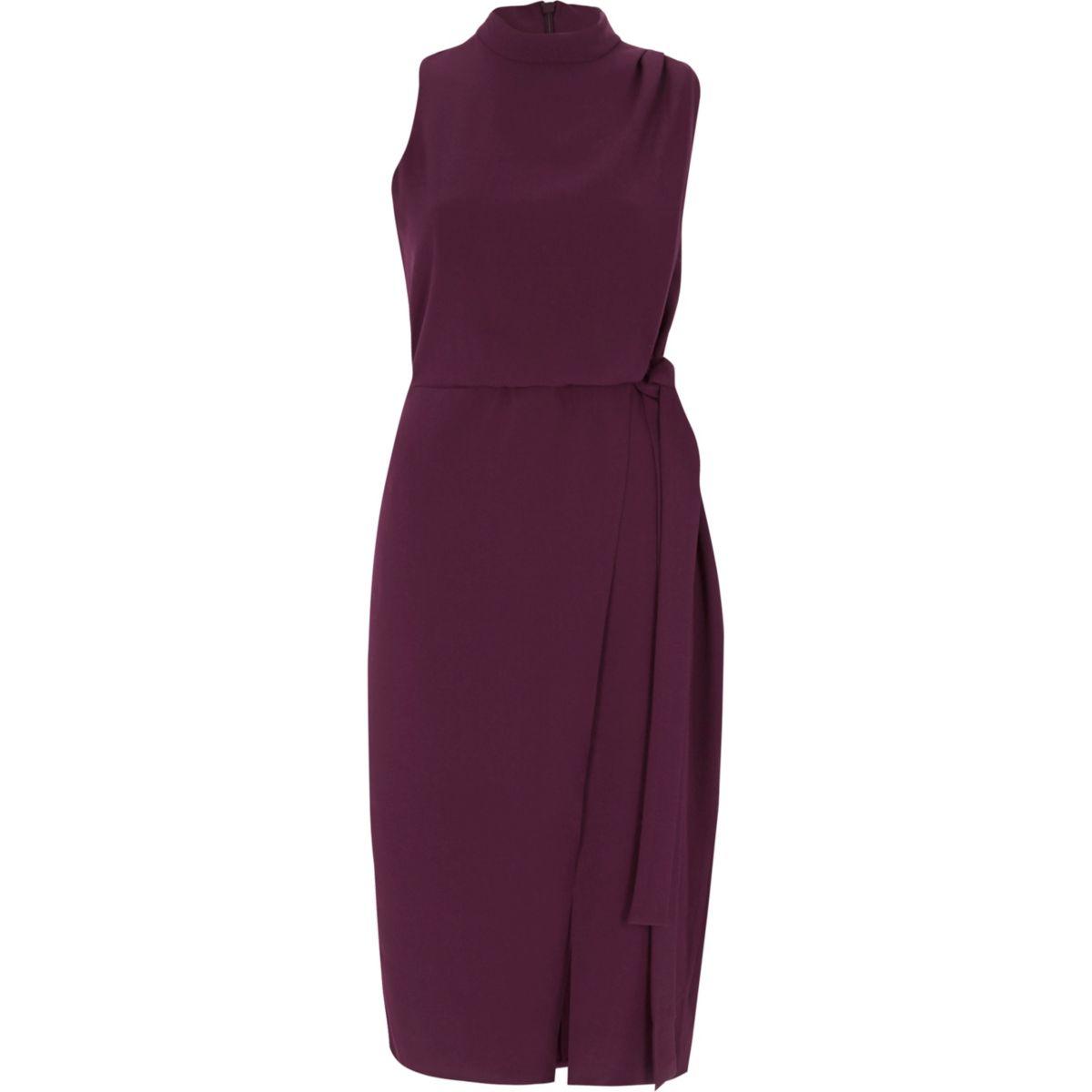 Dark purple high neck sleeveless wrap dress