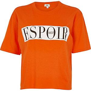 Oranje cropped T-shirt met 'Espoir'-print