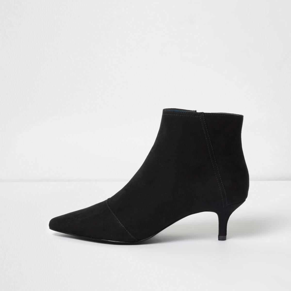 Black pointed kitten heel boots