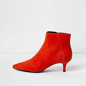 Red pointed kitten heel ankle boots