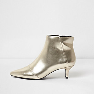 Gold metallic pointed kitten heel ankle boots