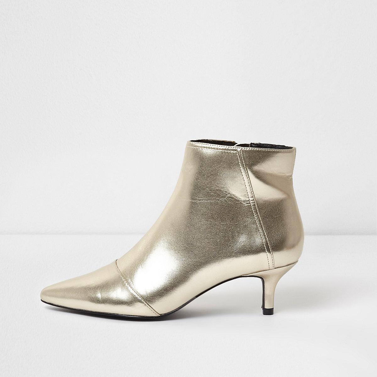 Gold metallic pointed kitten heel ankle boots