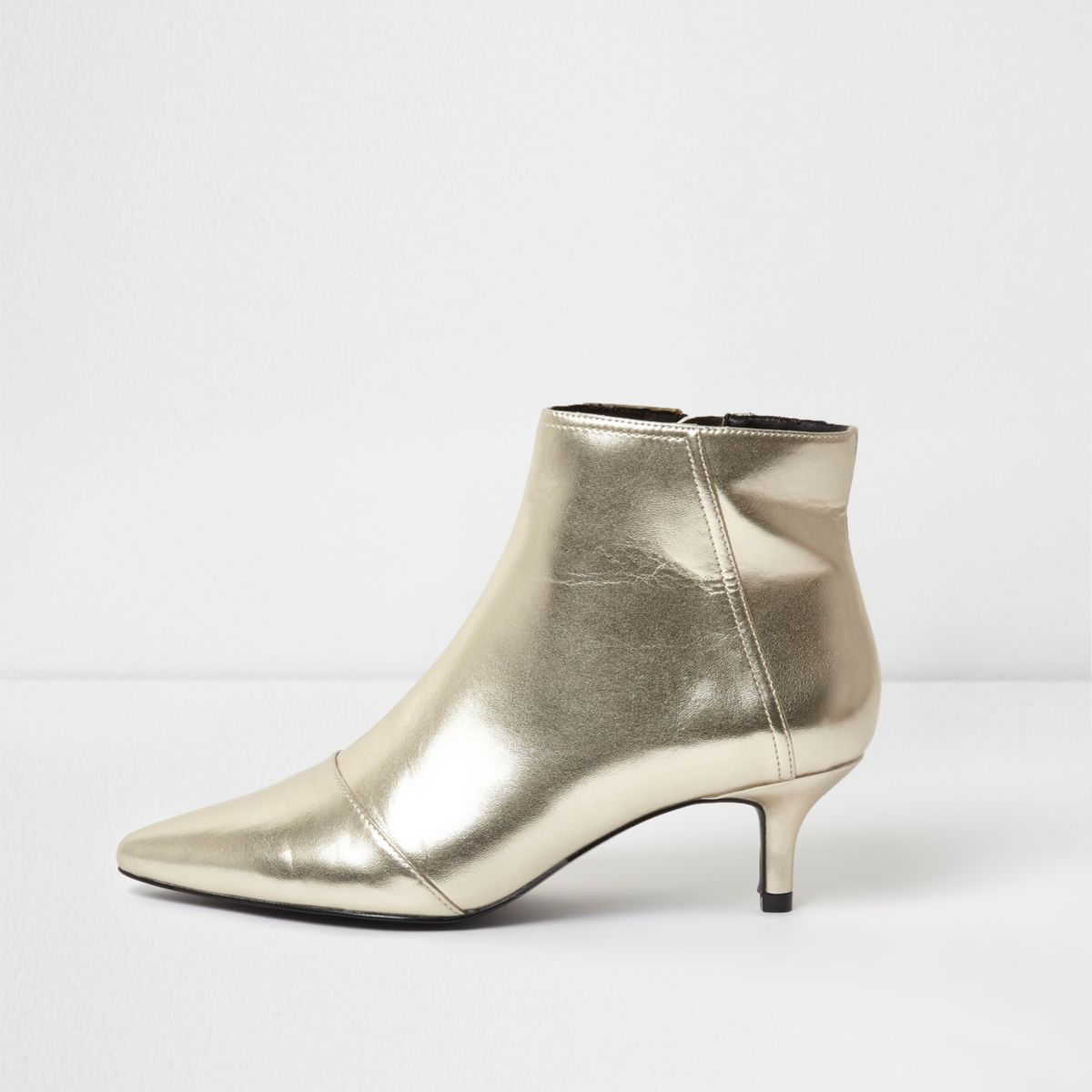 Gold metallic pointed kitten heel ankle boots - Gifts - Sale - women