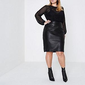 RI Plus - Zwarte bodysuit met doorschijnende lange mouwen