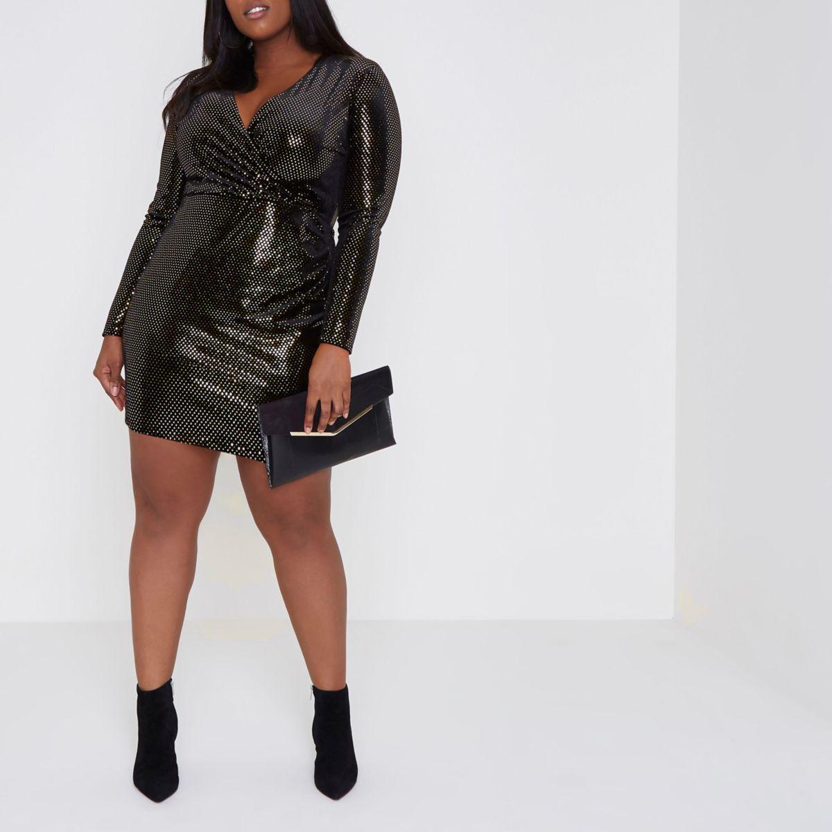 Plus gold mirror dot sequin bodycon dress