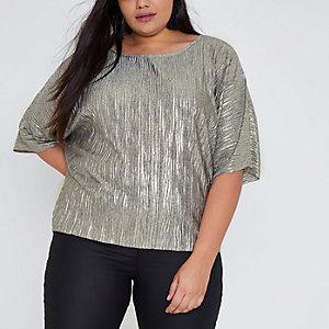 Plus – Top ample plissé doré métallisé