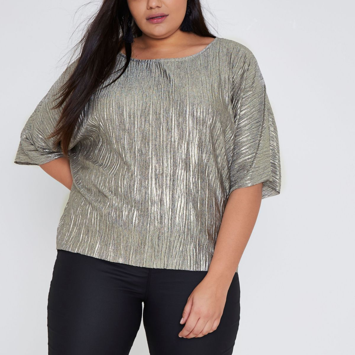 Plus gold metallic plisse loose fit top