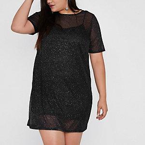 Plus – Schwarzes, glitzerndes T-Shirt-Kleid