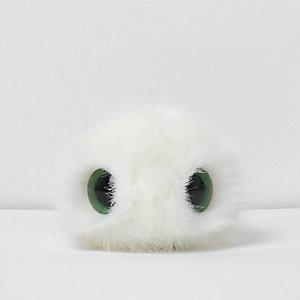 Witte afneembare noveltypompon met ogen