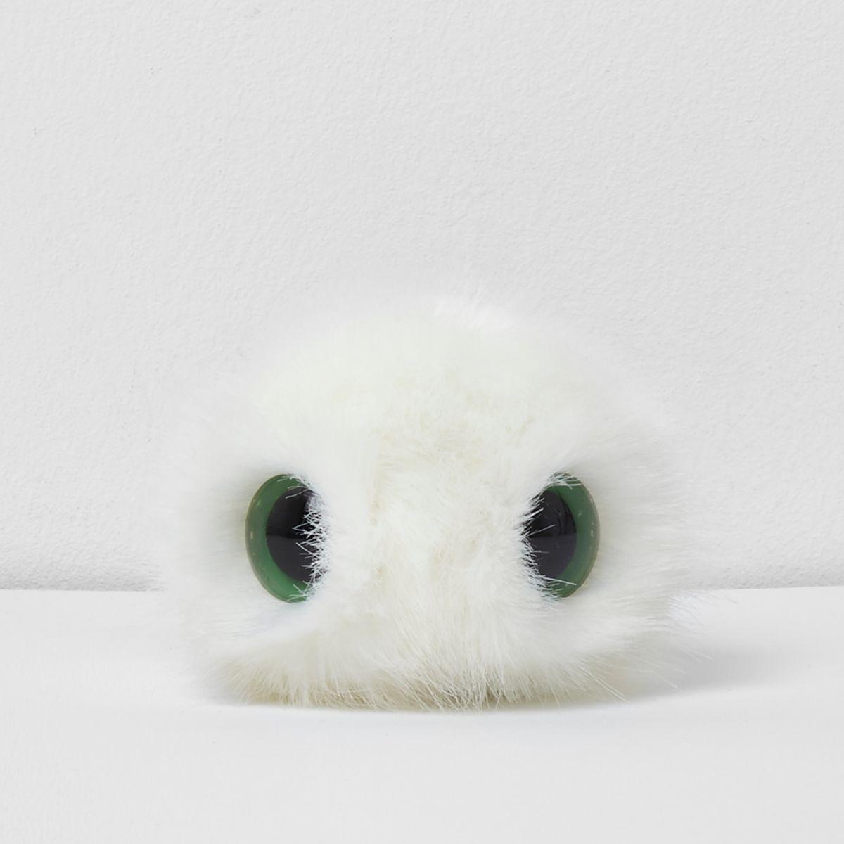White novelty eye detachable pom pom
