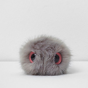 Light grey novelty eye detachable pom pom
