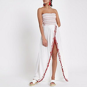 White shirred bandeau split maxi beach dress