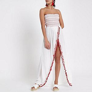 Robe de plage bandeau longue blanche à fronces et fente