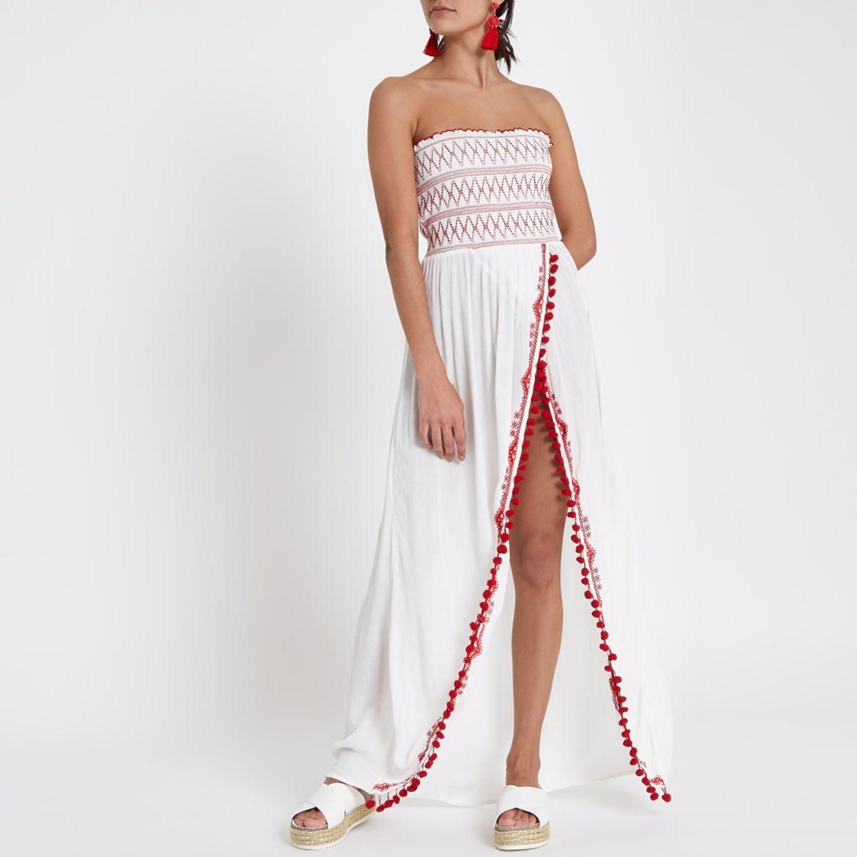 White shirred bandeau split maxi beach dress