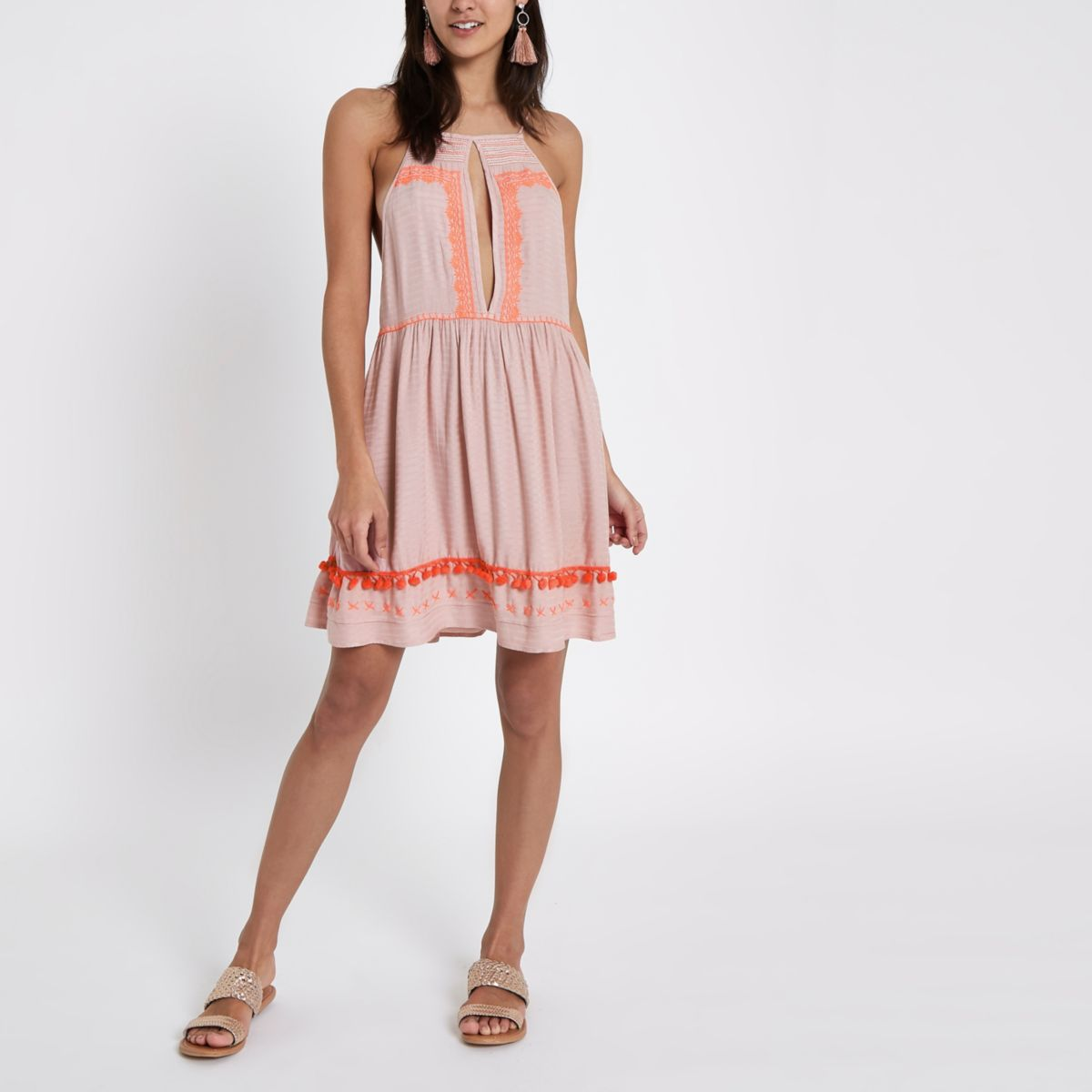 Pink square neck embroidered cami beach dress