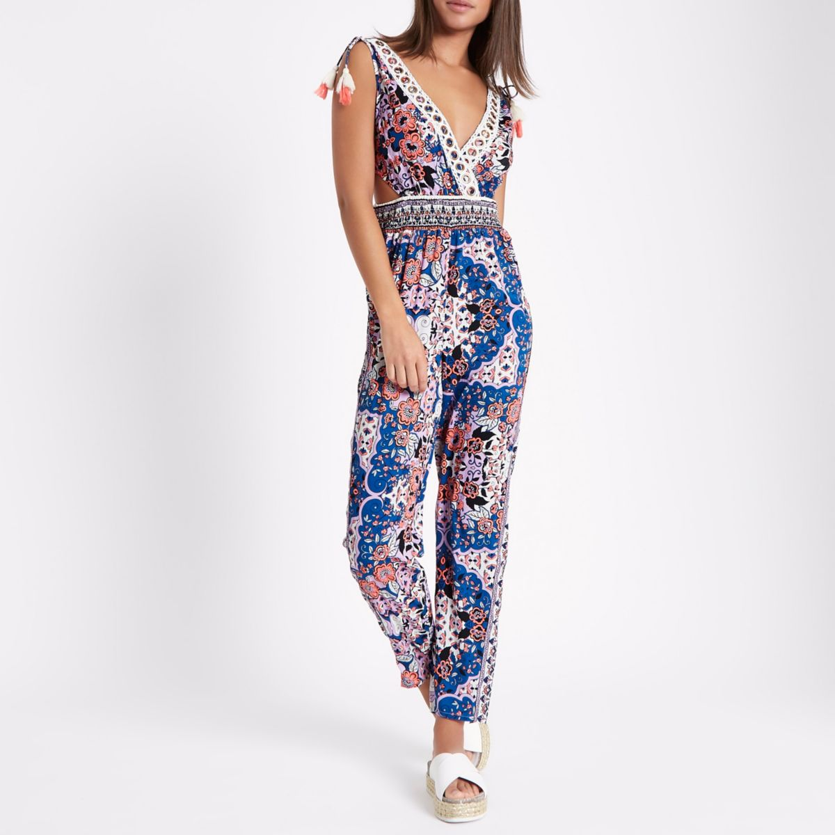 Blue floral cut out tassel beach jumpsuit