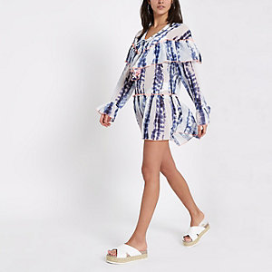 Blue tie dye frill lace-up beach cover up