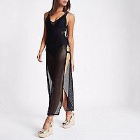 Black mesh ring side maxi beach dress
