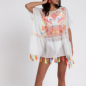 White embroidered tassel hem beach cover up