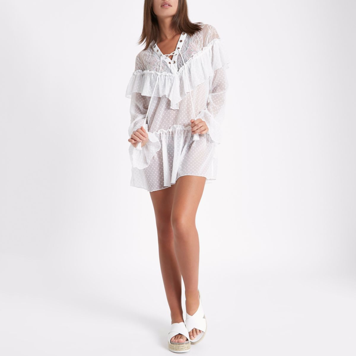 White lace dobby mesh frill beach dress
