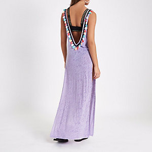 Light purple tassel cut out maxi beach dress