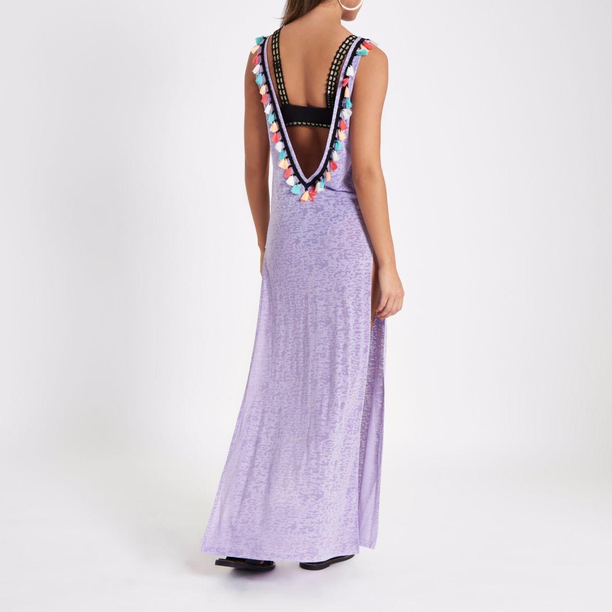 Light purple tassel cut out maxi beach dress