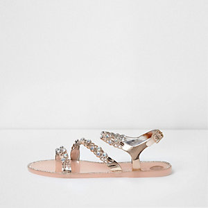 Light pink embellished strappy jelly sandals