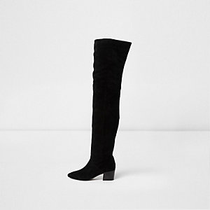 Black suede over the knee block heel boots