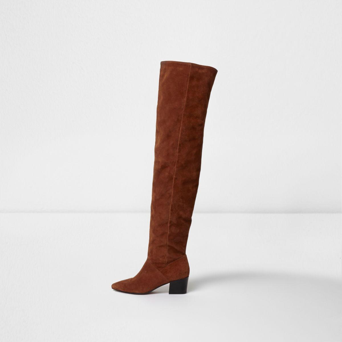 Brown suede over the knee block heel boots