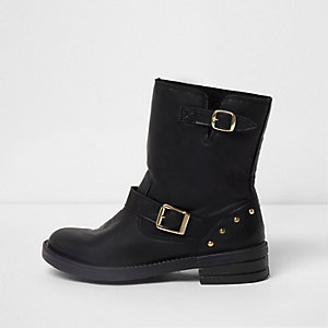 Black fleece lined buckle biker boots
