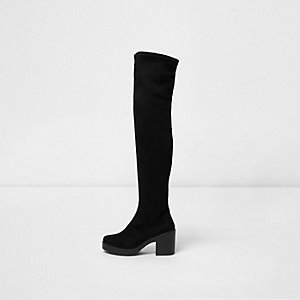 Black faux suede chunky over the knee boots