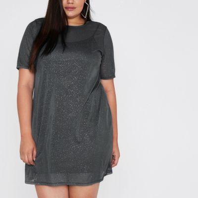 River Island RI Plus - Grijze T-shirtjurk met mesh en glitters