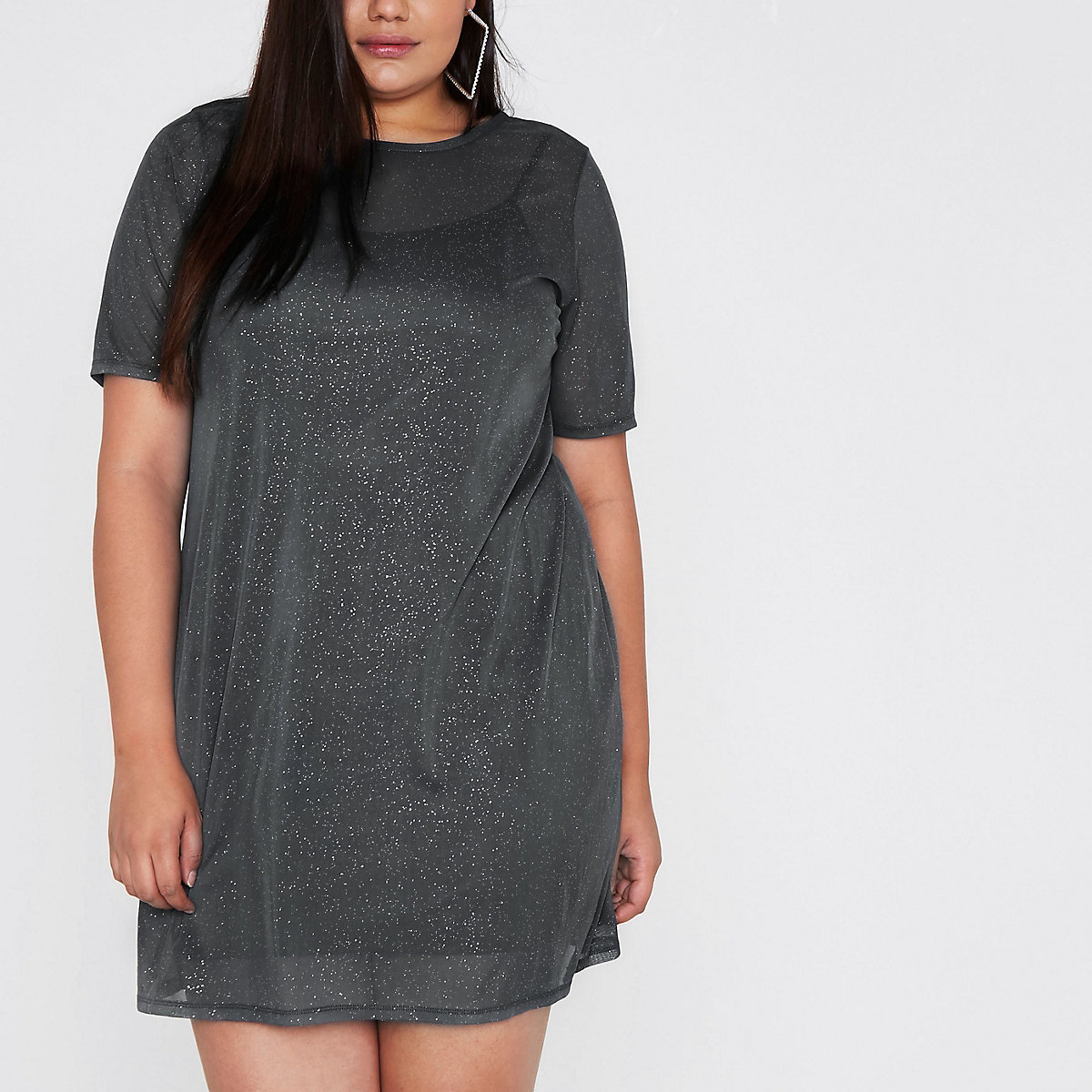 Plus grey glitter mesh T-shirt dress
