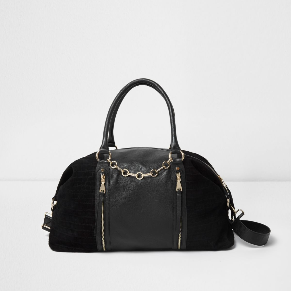 Black suede and leather weekend bag
