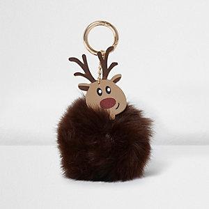 Porte-clés motif renne à pompons en fausse fourrure marron