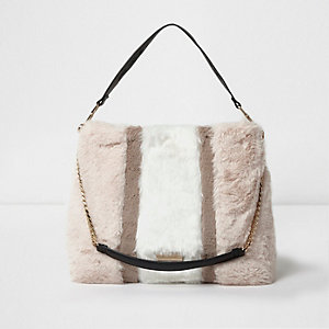 Beige block color faux fur chain handle bag