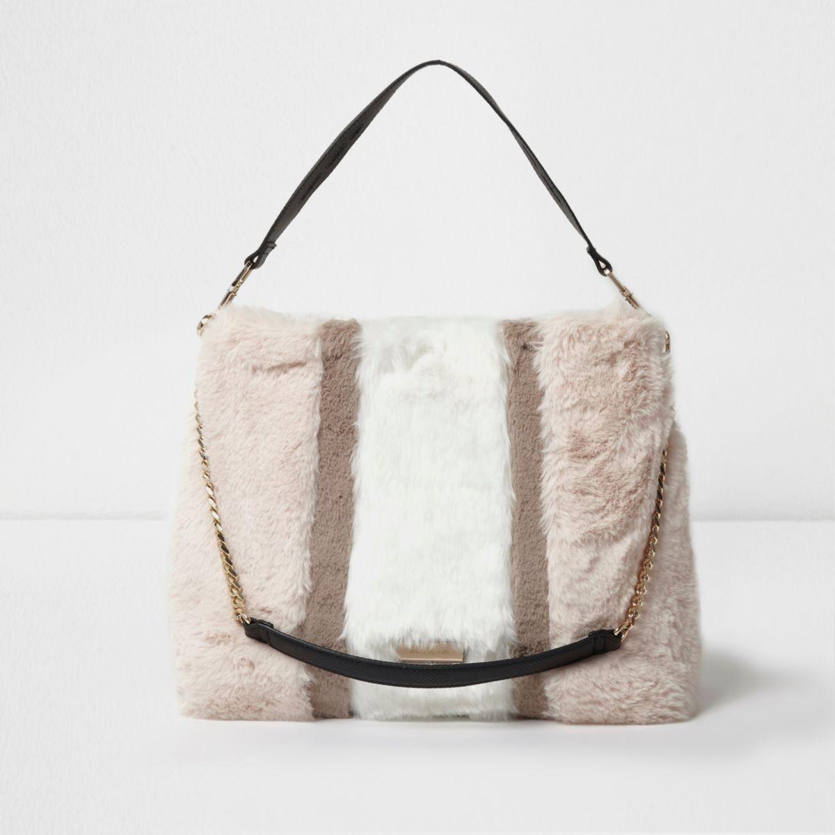 Beige block colour faux fur chain handle bag