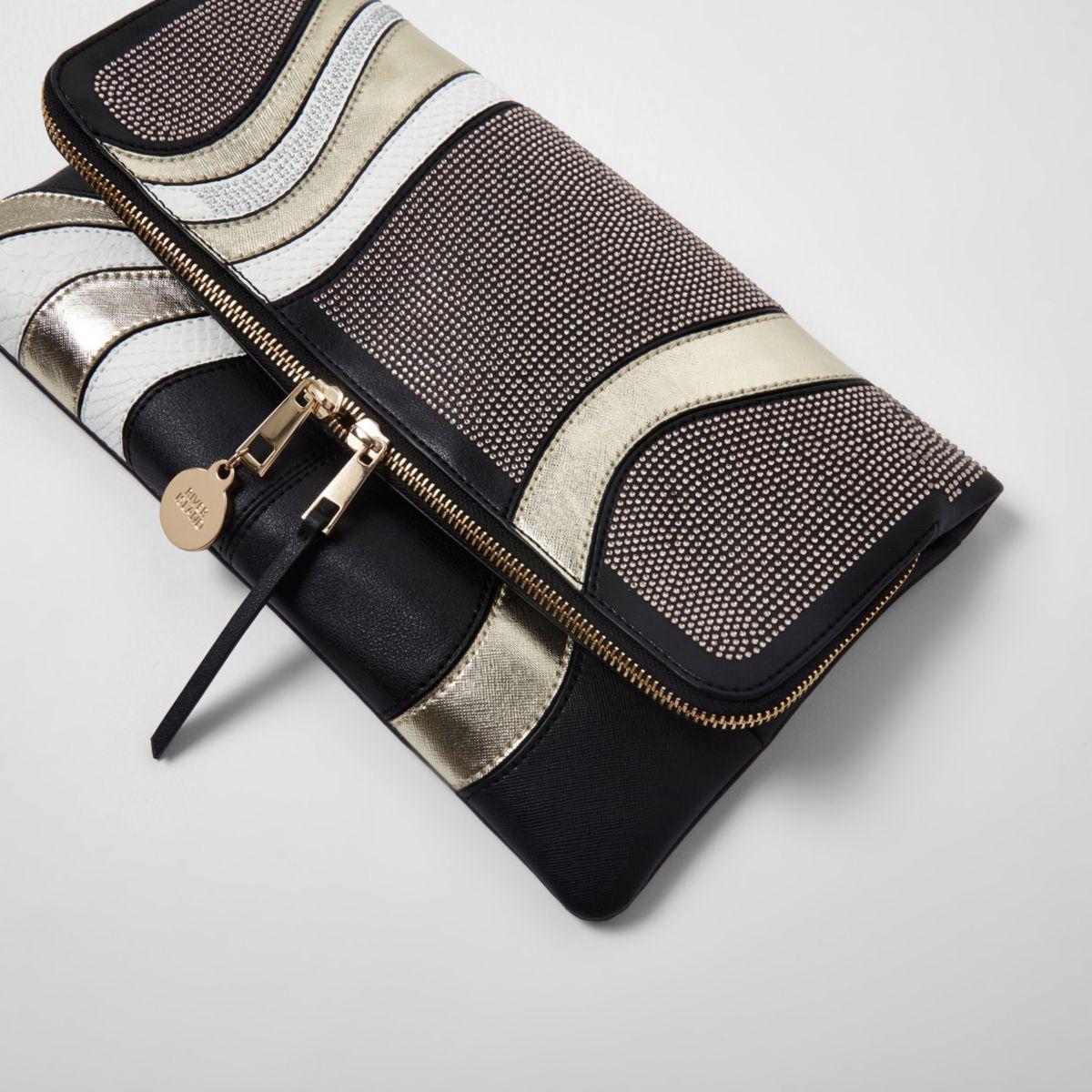 Black heatseal studded foldover clutch bag