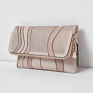 Pink heatseal rhinestone foldover clutch bag