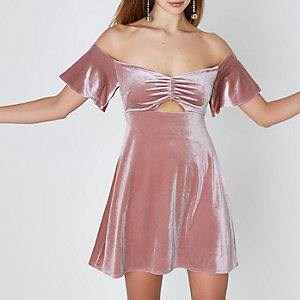 Pink velvet ruched bardot mini skater dress
