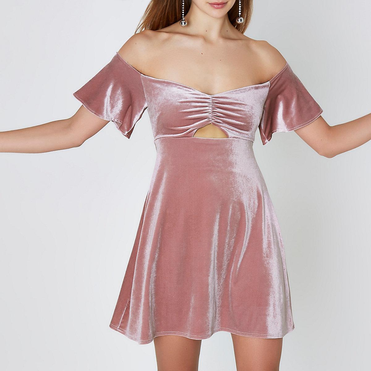 Pink velvet ruched bardot mini skater dress