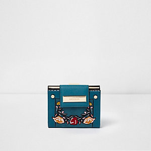Green floral embroidered mini purse